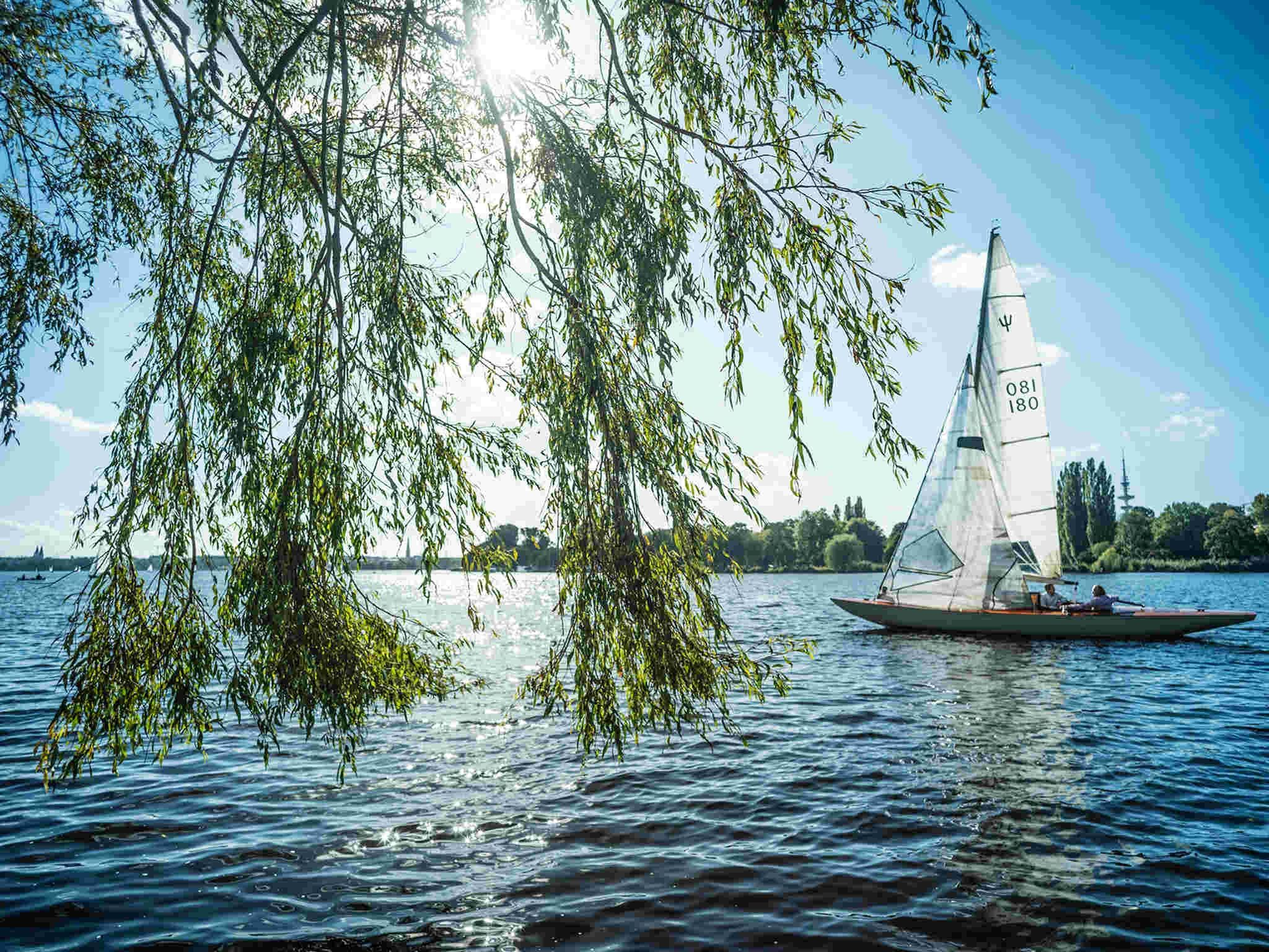 Sunshine, sail boats and the Outer Alster Außenalster
