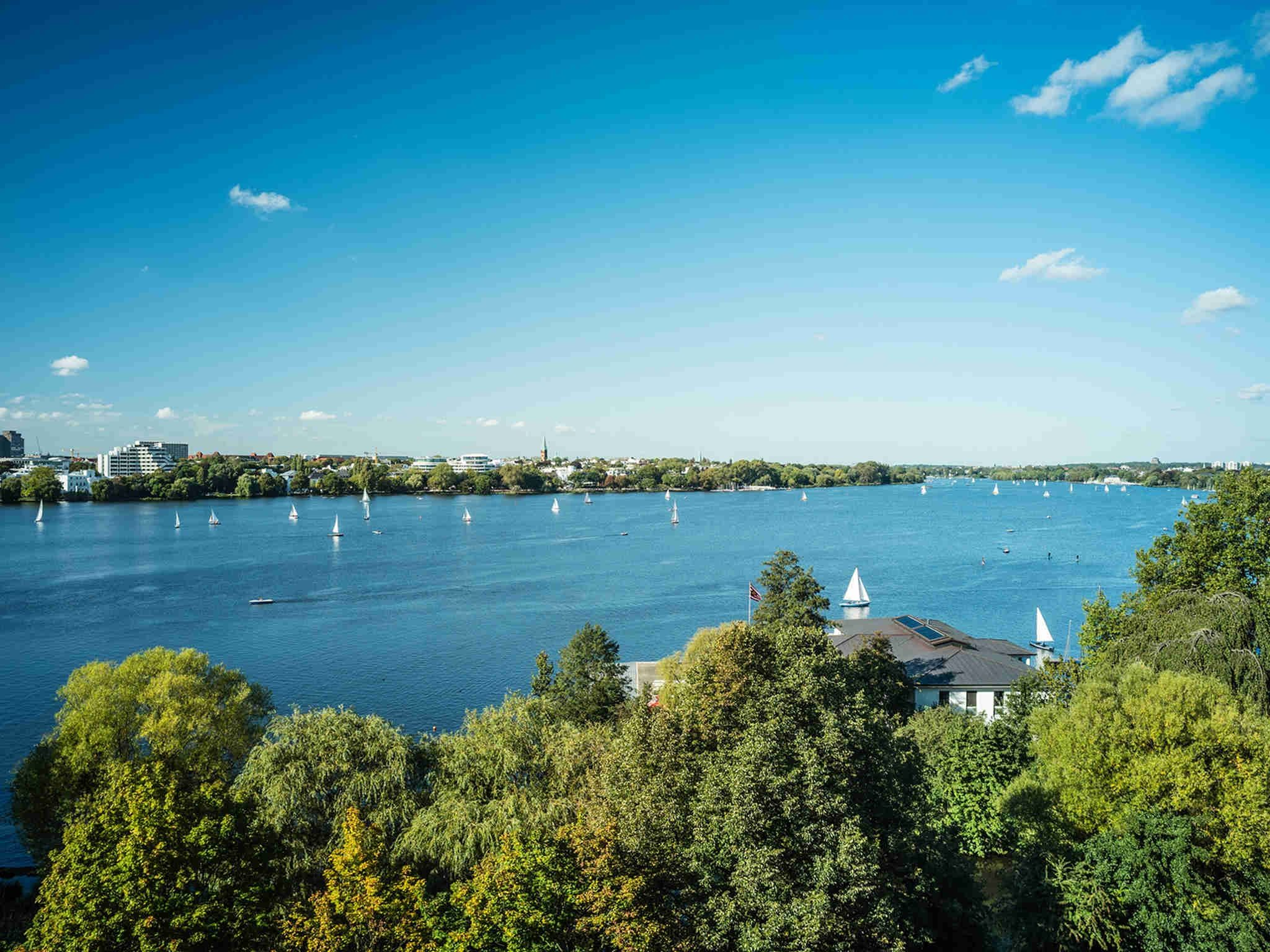 View of the Außenalster with Sailing Boats and Sunshine